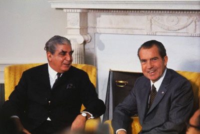 O general Yahya Khan com Richard Nixon